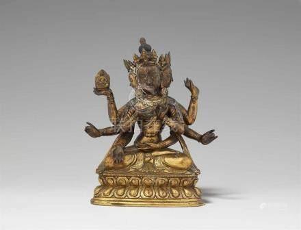 Ushnishavijaya. Feuervergoldete Bronze. Sinotibetisch. 18. Jh. Ushnishavijaya, die Verkörperung