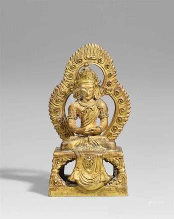 Buddha Amitayus. Feuervergoldete Bronze. Sinotibetisch. Ca. 1770 Im Meditationssitz auf einem