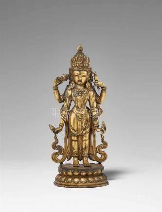 Vishnu. Feuervergoldete Bronze. Nepal. 18. Jh. Der Bewahrer des Universums steht königlich