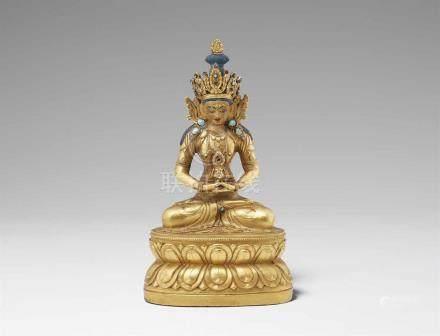 Buddha Amitayus. Feuervergoldete Bronze. Osttibet. 19. Jh. Der Herr des unermesslichen Lebens