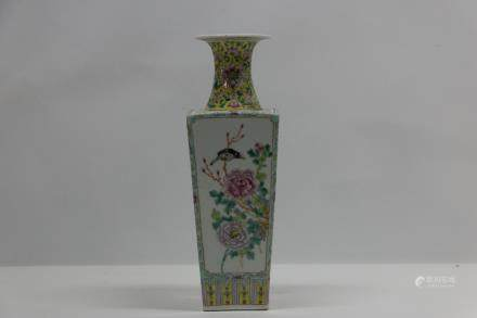A chinese 19th porcelain square bottle