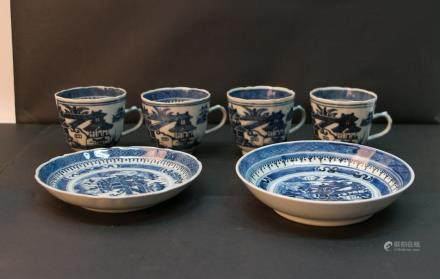 Four chinese blue&white cups and 2 plates
