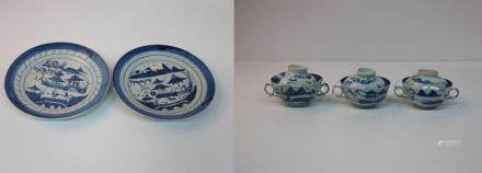 Three chinese blue&white bowls and 2 plates