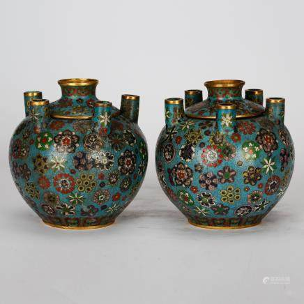 CHINESE CLOISONNE VASES, PAIR