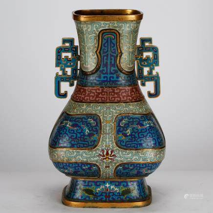 CHINESE CLOISONNE VASE WITH ARCHAIC PATTERN