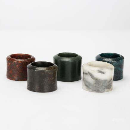 CHINESE THUMB RINGS, SET OF 5