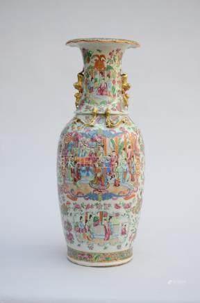 Famille rose Canton vase 'figures' (*) (63cm)