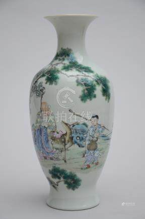 Vase in Chinese porcelain 'Laotsé with deer' (*) (26cm)