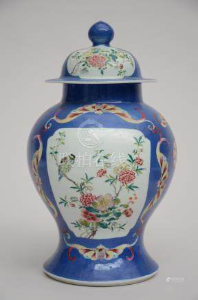 Lidded vase with blue background in Chinese porcelain (38cm)