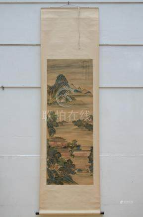 Chinese scroll 'palaces in a mountain landscape' (55x150cm)