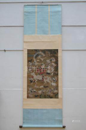 Chinese scroll 'boy with goats' (65x100cm)