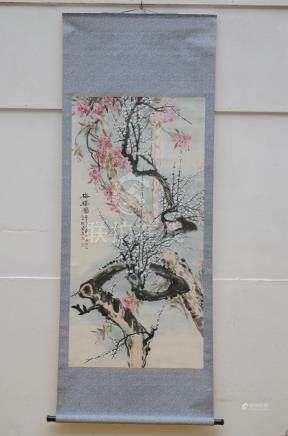 Chinese scroll 'rose blossoms' (64x130cm)