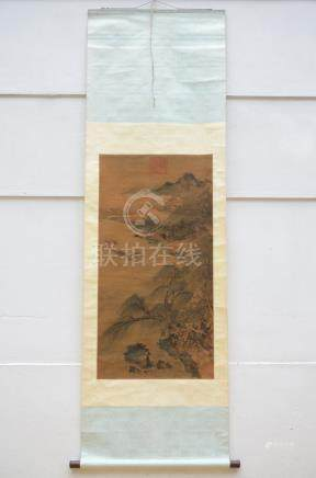 Chinese scroll 'landscape with fishermen' (57x110cm)