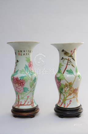 Two vases in Chinese porcelain 'birds' (37cm)