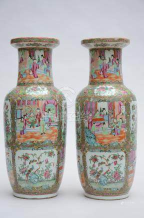 Pair of vases in Chinese Canton porcelain (*) (62cm)