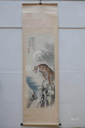 Chinese scroll 'tiger on a rock' (52x137cm)