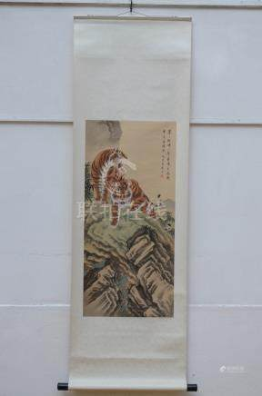 Chinese scroll 'two tigers' (40x88cm)