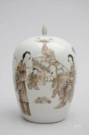 Ginger jar in Chinese porcelain 'ladies with children' (*) (32cm)