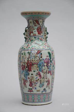 Vase in Chinese famille rose porcelain 'figures' (*) (61cm)