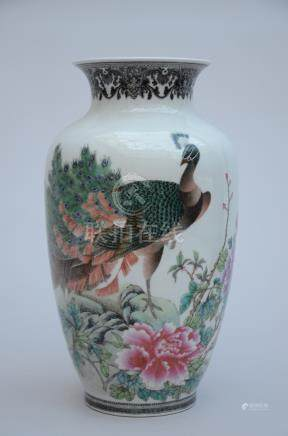Vase in Chinese porcelain 'peacock' (37cm)