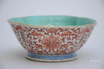 Chinese bowl with iron red decoration, marked (13x7cm)