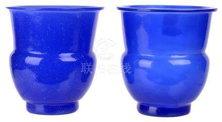 ‡ A PAIR OF CHINESE BLUE GLASS 'ZHADOU' VASES, QIANLONG MARK AND PERIOD (1736-1795)