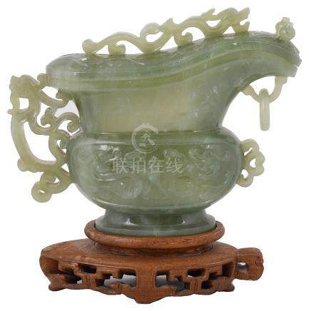 A CHINESE JADE VESSEL AND COVER, 20TH CENTURY