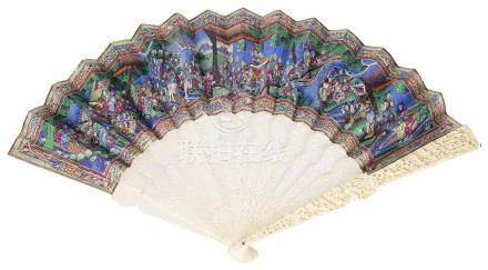 ~A CHINESE IVORY AND PAINTED 'MANDARIN' FAN, CANTON, MID 19TH CENTURY