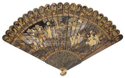 A CHINESE BLACK LACQUER BRISE FAN, PROBABLY CANTON MID 19TH CENTURY