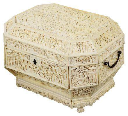 ~A CHINESE IVORY WORK BOX, CANTON, MID 19TH CENTURY