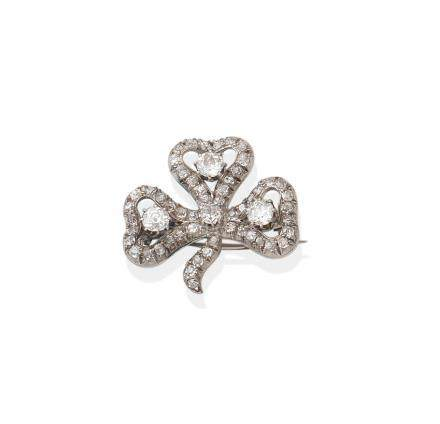 A diamond clover brooch, circa 1890