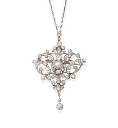 A pearl and diamond brooch/pendant, circa 1890