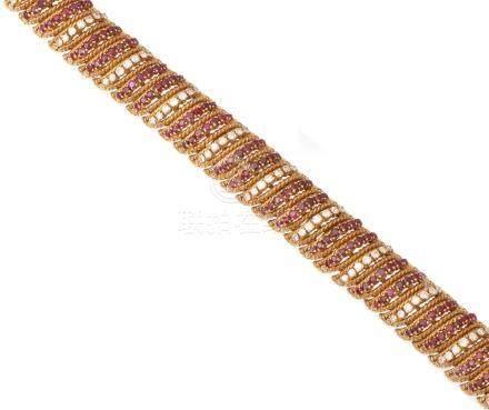 A ruby and diamond bracelet, by Ben Rosenfeld, 1965