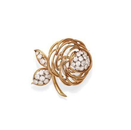A diamond flower brooch, by Asprey, 1961