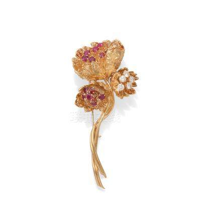 A ruby and diamond flower brooch, by Van Cleef and Arpels, circa 1960