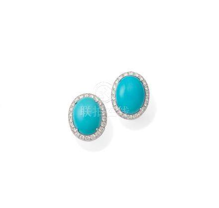 A pair of turquoise and diamond earrings