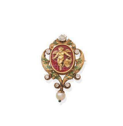 An enamel, pearl and diamond pendant/brooch, by Phillips Brothers & Son,