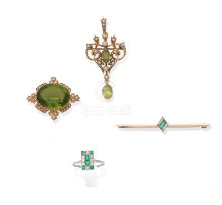 Four pieces of early 20th century gem-set jewellery (4)