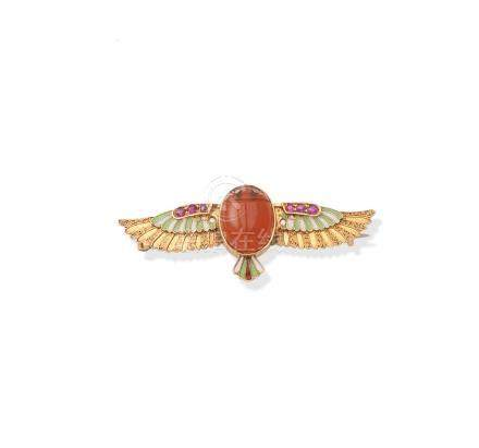 A late 19th century Egyptian Revival enamel and gem-set scarab brooch, by Carl Bacher