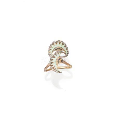 An enamel and diamond ring, by Lucien Gaillard,