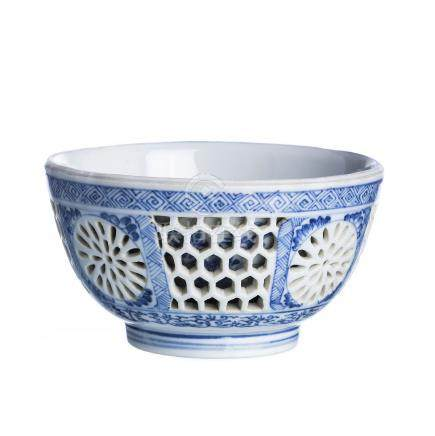 Chinese porcelain double walled bowl, Kangxi