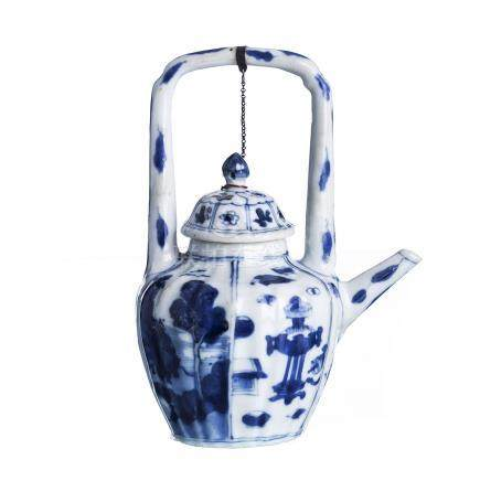Chinese porcelain arch handle Teapot, Kangxi