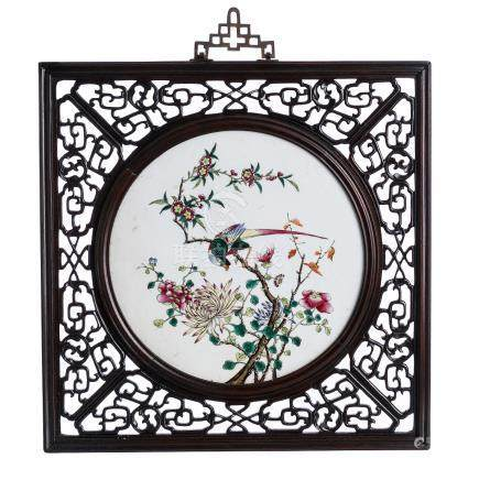 China porcelain plaque with frame, Tongzhi