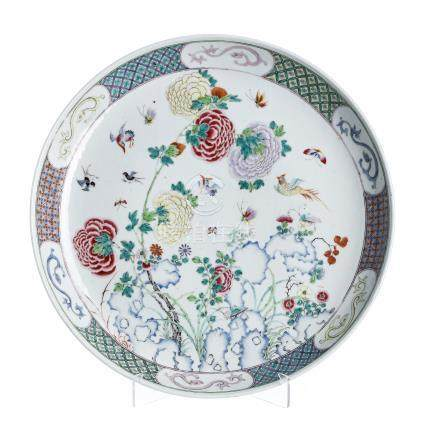 Plate 'flowers' in chinese porcelain, Guangxu