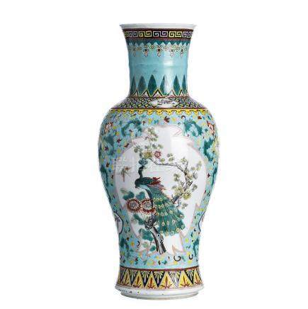 Famille Verte Vase in Chinese porcelain, Tongzhi