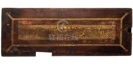 GRANDE COPERTINA DI MANOSCRITTO IN LEGNO, TIBET, XVI-XVII SE