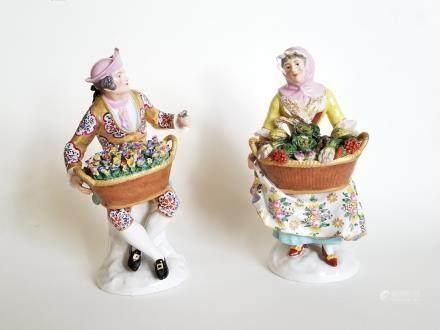 Antique Pair Porcelain Figurines Chelsea Derby
