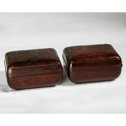 CHINESE ROSEWOOD COVER BOX, PAIR