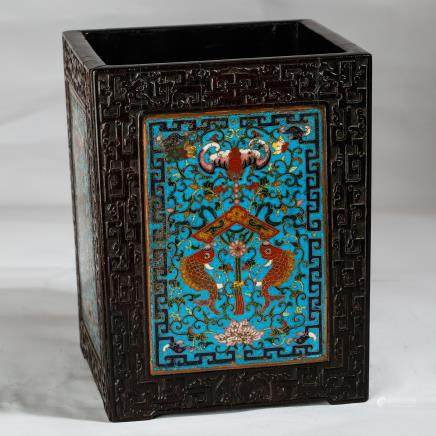 CHINESE ROSEWOOD AND CLOISONNE BRUSH POT