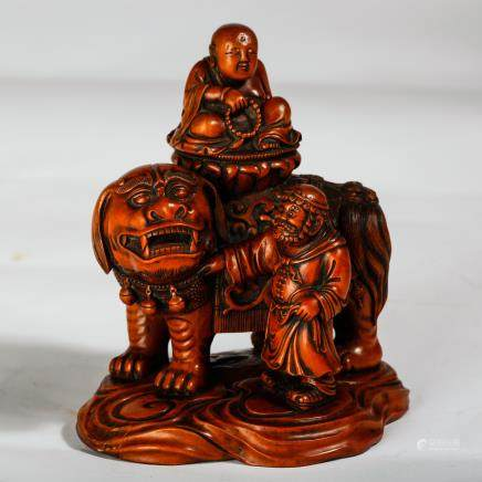 CHINESE HARDWOOD CARVED LOHAN AND FOOLION